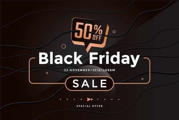Black friday sale modern poster design. minimal geometry background. vector trendy illustration