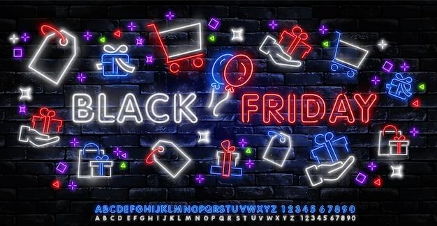 Черная пятница продажа неоновый баннер вектор. черная пятница неоновая вывеска