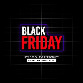 Black friday sale neon effect background