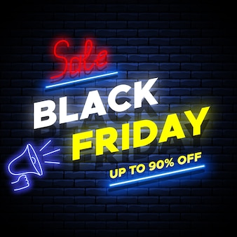 Black friday sale neon glowing banner on brick wall.
