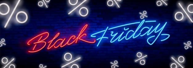 Black friday sale neon lettering banner