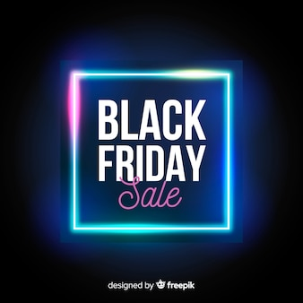 Black friday sale neon lights background