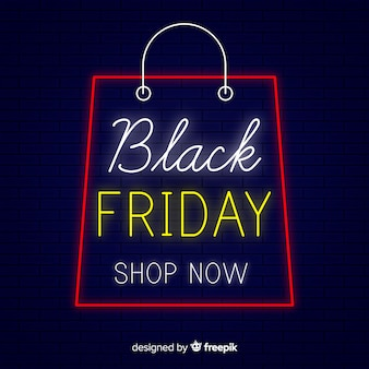 Black friday sale neon sign  background
