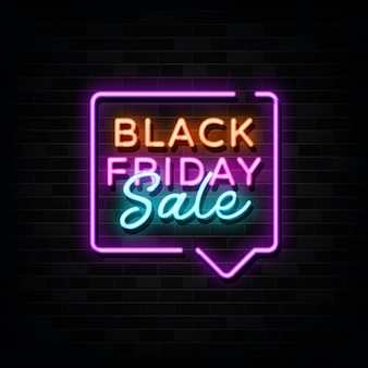 Black friday sale neon signs vector. design template neon style