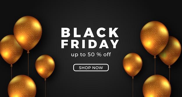 Черная пятница распродажа предлагает баннер шаблон роскошный элегантный с 3d золотым летающим шаром.