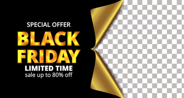 Black friday sale offer banner template with gift paper warp