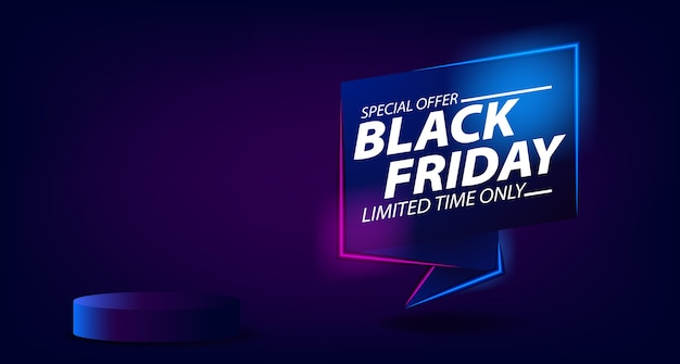 Black friday sale offer banner template with glowing neon lamp