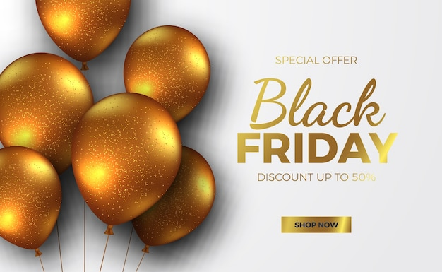 Black friday sale offer banner with flying helium golden balloon