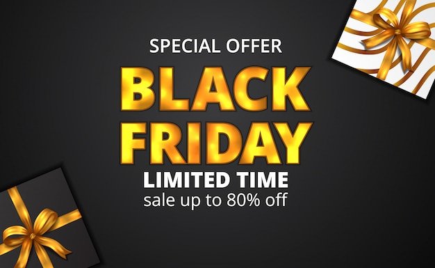 Black friday sale offer banner with golden glow text and present