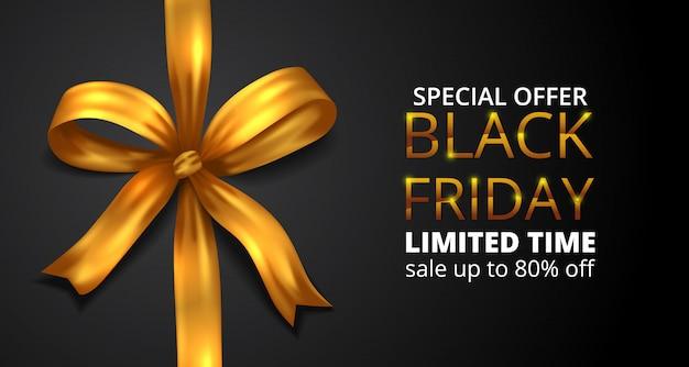 Black friday sale offer banner with illustration fabric ribbon golden