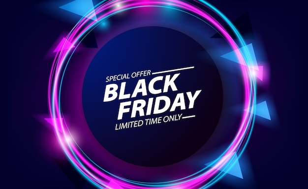 Black friday sale offer banner with round circle