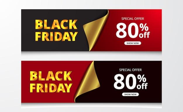 ブラックフライデーセールは、エレガントな高級コマースストアのファッションのための赤と黒の背景を持つ金色のラップ紙で割引ポスターバナーテンプレートを提供しています