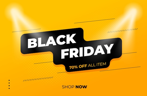 스포트 라이트와 노란색 배경에 검은 금요일 판매