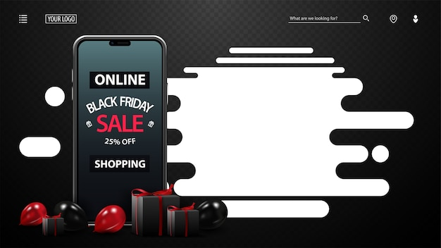 Black friday sale, online shopping, up to 25% off, black template with red and black balloons, presents, smartphone with offer on screen and white abstract shape for copy space
