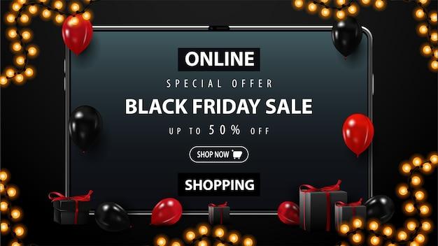 블랙 프라이데이 세일, 온라인 쇼핑, 최대 50 % 할인, 빨간색과 검은 색 풍선이있는 검은 색 할인 배너, 화면에 제공되는 선물 및 태블릿