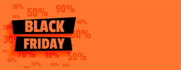 Black friday sale orange banner with discount offers