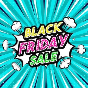 Black friday sale pop art style phrase comic style