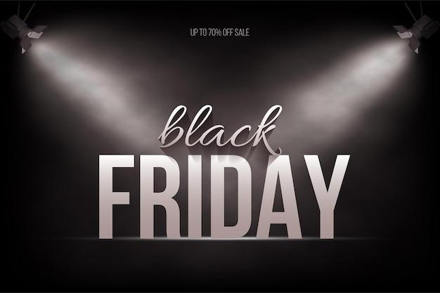 검은 금요일 판매 포스터 배경 무대에서 스포트 라이트 아래 흰색 글꼴