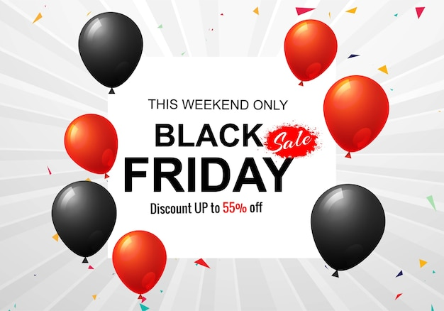 Black friday sale poster for balloons and confetti