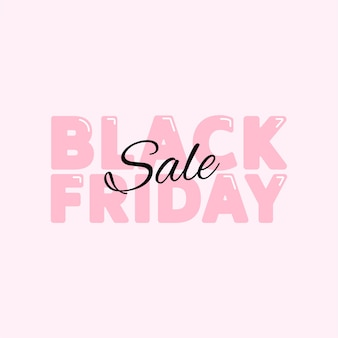Black friday sale poster banner with cute pink typography