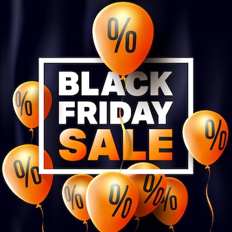 Black friday sale poster by balloons