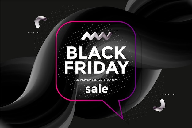 Черная пятница продажа дизайн плаката с 3d формой потока. модные векторные иллюстрации