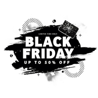 Black friday sale poster design with 50% discount offer and brush effect on white background.