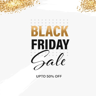 Black friday sale poster design with 50% discount offer and golden glitter effect on white background.