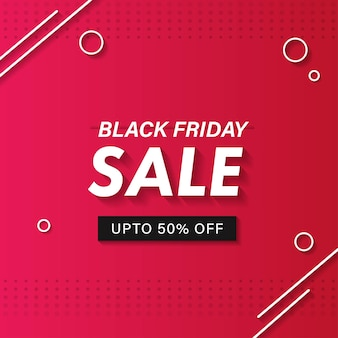 Black friday sale poster design with 50% discount offer on pink dotted background.