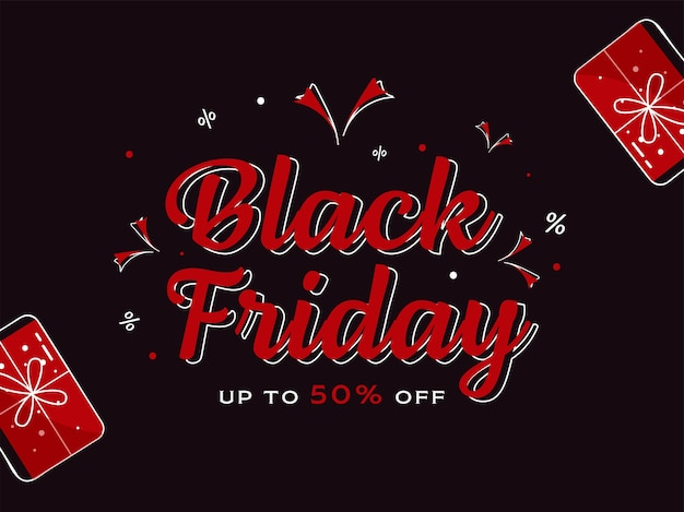 Black friday sale poster design with 50% discount offer and top view gift boxes on brown background.