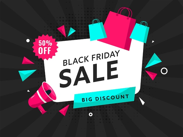 Black friday sale poster design with 50% discount offer