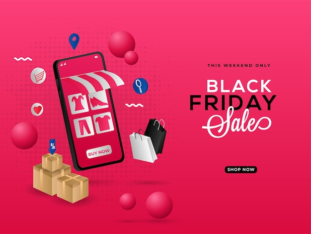 Black friday sale poster design with e-shop in 3d smartphone