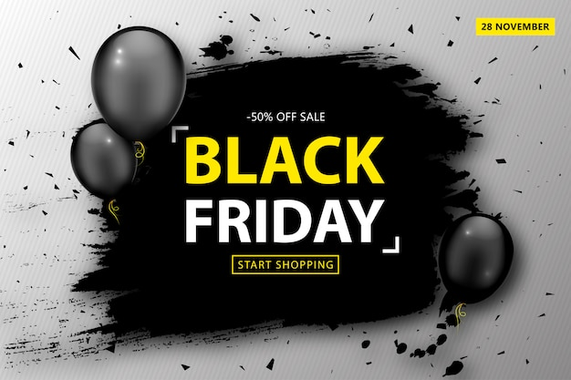 Black friday sale poster. discount banner with balloons and black grunge frame