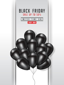 Black friday sale poster illustration with shiny balloons