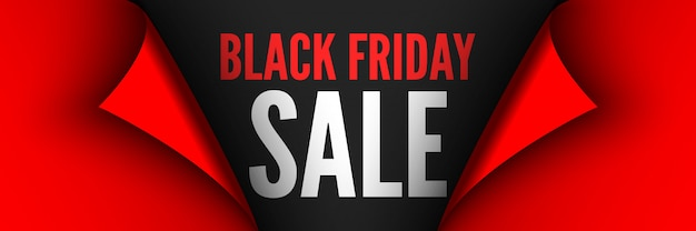 Black friday sale poster. red ribbon with curved edges on black background. sticker.