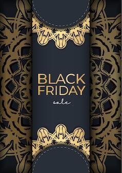 Черная пятница распродажа плакат распродажа темно-синий с роскошным золотым узором
