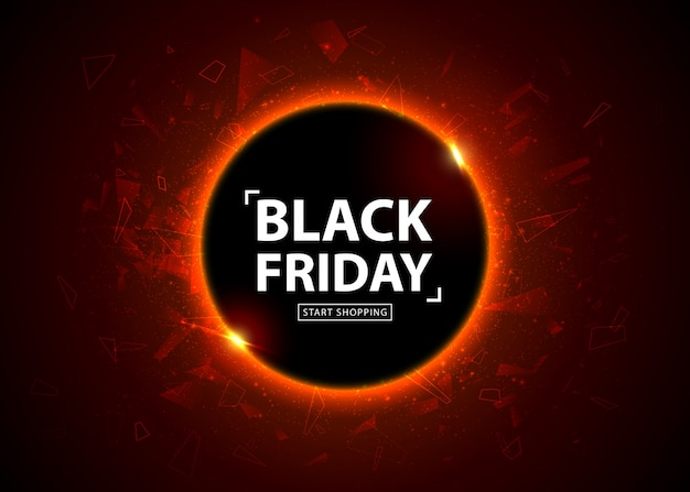 Black friday sale poster. seasonal discount banner, place for text. glowing colorful circle with red light effect on black abstract background. design template for shopping, closeout, flyer, billboard