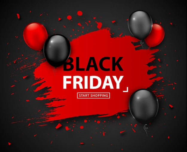 Black friday sale poster. seasonal discount banner with red and black balloons and grunge red frame on dark background. holiday design template for advertising shopping, closeout on thanksgiving day