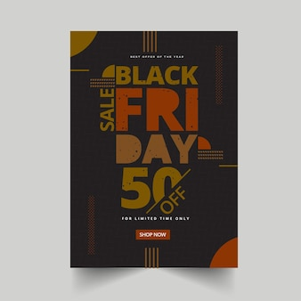 Black friday sale poster or template design with 50% discount offer for advertising.
