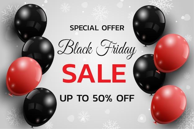 흰색 바탕에 풍선과 함께 검은 금요일 판매 포스터. .