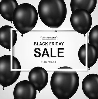 Black friday sale poster with black balloon.