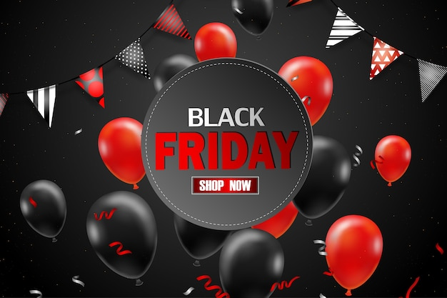 Плакат с распродажей черной пятницы с черными воздушными шарами для розничной торговли, покупок или продвижения черной пятницы