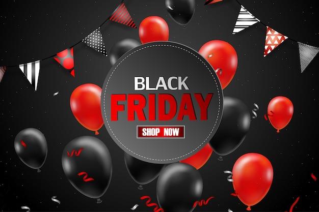 Poster di vendita del black friday con palloncini neri per lo stile di vendita al dettaglio, shopping o promozione del black friday