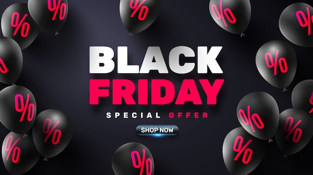 Black friday sale poster with black balloons for retail