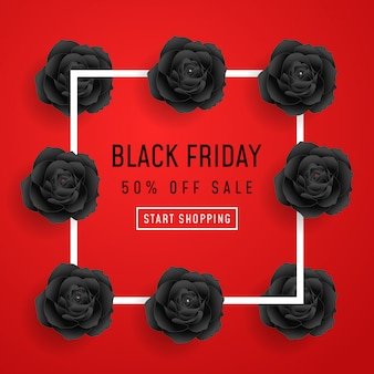 Black friday sale poster with black roses on red background with square frame. illustration.