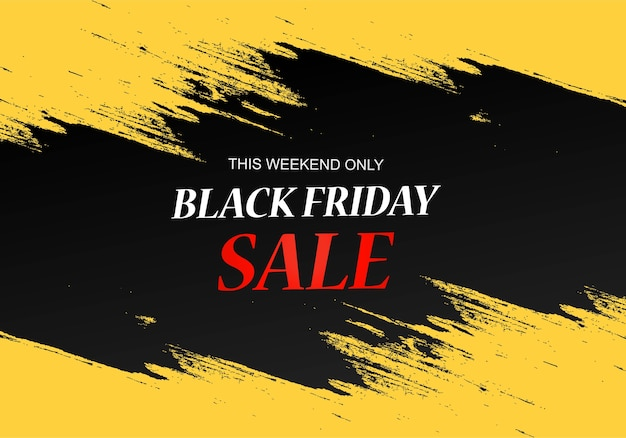 Black friday sale poster with brush design