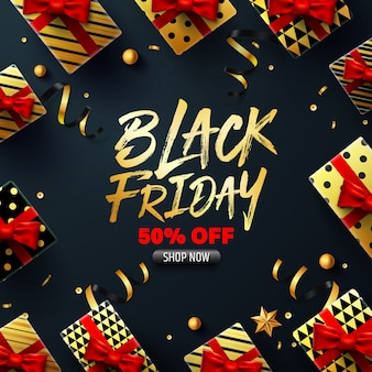 Black friday sale poster with gift box for retail