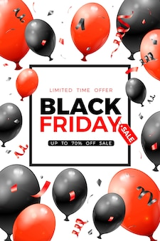 Black friday sale poster with glossy red and black balloons, tag and confetti.  for blackfriday sale flier. realistic  illustration on white background