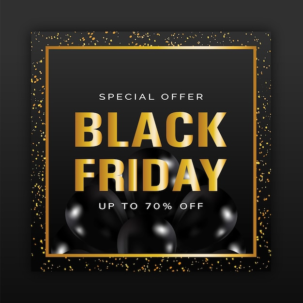 Black friday sale poster with gold letters