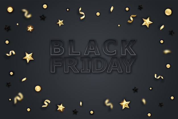 Black friday sale poster with gold ornaments